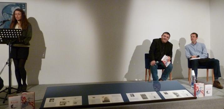 06/01/15. Finissage. Gli scrittori Guido Conti e Stefano Rotta ci raccontano il fiume Po. Nella foto, un momento dello spettacolo con le letture di Elisabetta Balduzzi